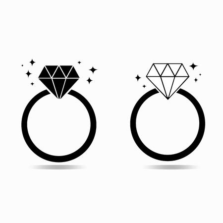 bague de fiancaille: Diamant bague de fian�ailles du concept de l'amour Illustration