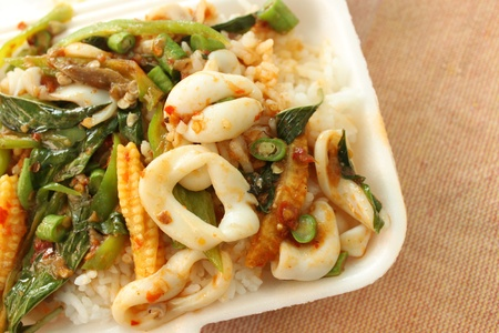Stir-fried squid with Holy Basil photo