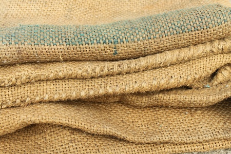 sandbag: Empty sacks stacked.