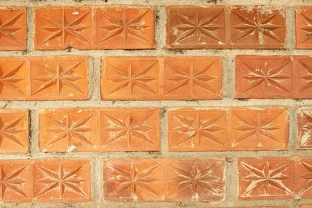 Weathered aged red brickwork wall vintage background photo