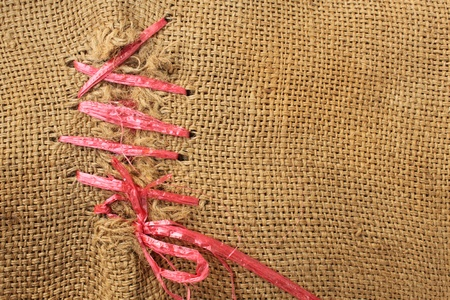 Background of Natural burlap hessian sacking  photo