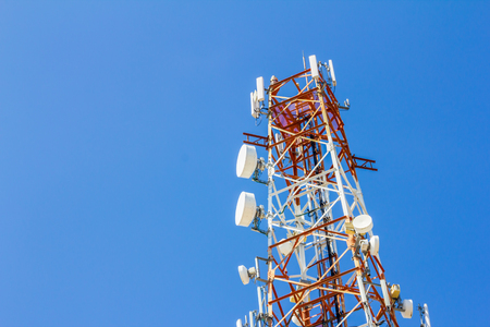 Telecommunication tower used to transmit signals to communicate  photo
