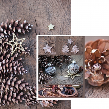 Pinecones and christmas bells photo