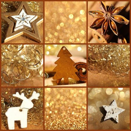Christmas collage gold photo