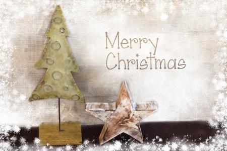 Albero di Natale e stella su sfondo di legno Archivio Fotografico - 23974052