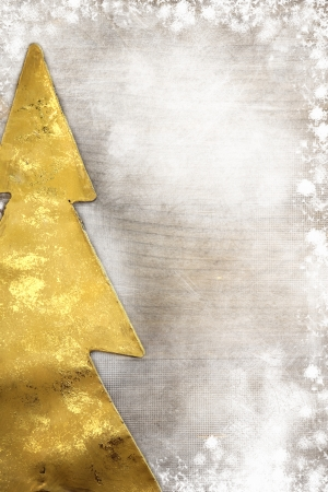 star border: Christmas tree on wooden background