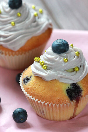 Blueberry cupcake photo