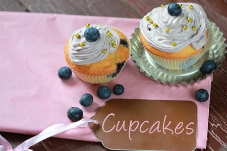 Blueberry cupcake photo