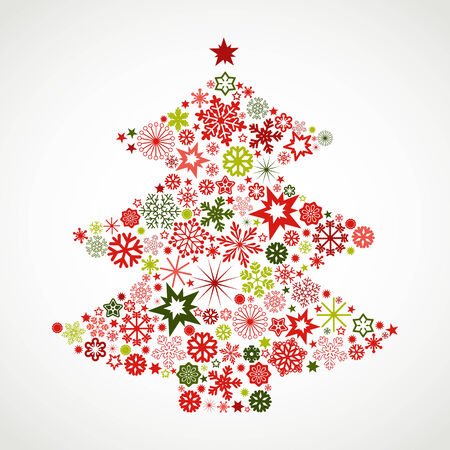 mas: Christmas tree with snowflakes Illustration