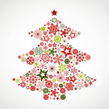 Christmas tree with snowflakes Ilustração