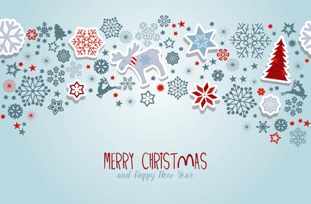 Feliz Navidad. Elementos del vector de la Navidad azul.
