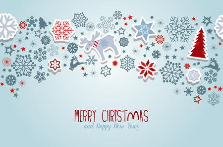 christmas greeting: Merry Christmas. Blue Christmas vector elements.