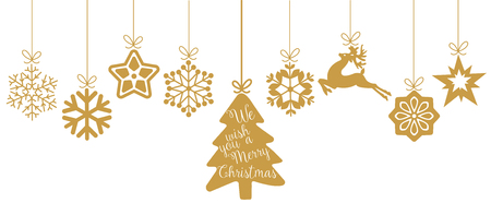 december: Merry Christmas. Christmas elements hanging line gold isolated background.