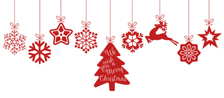 Merry Christmas. Christmas elements hanging red line isolated background.