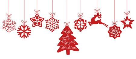 Vrolijk kerstfeest. Kerst elementen opknoping rode lijn geïsoleerde achtergrond.