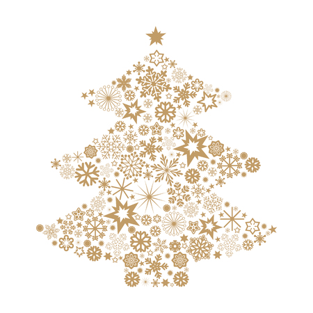 christmas stars: Christmas tree with snowflakes Illustration