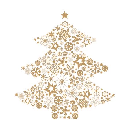 Christmas tree with snowflakes Illustration