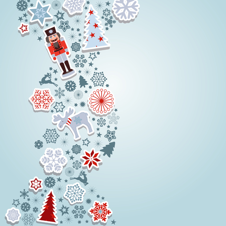 christmas greeting card: Merry Christmas. Blue Christmas vector elements.