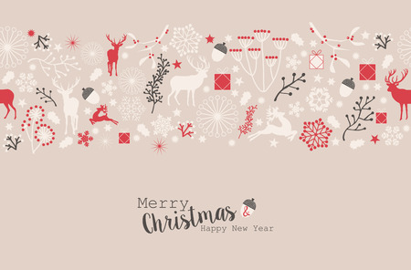 worth: Merry Christmas Happy New Year seamless pattern Illustration