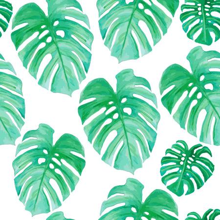 Waterverftekening, palmbomen en groene bladeren (naadloze patroon)
