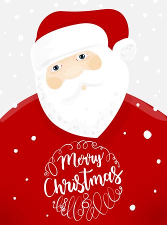 Santa Claus with snowflakes. Christmas Invitation and Greetings.