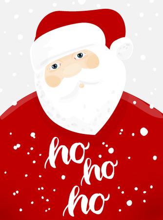 Babbo Natale con i fiocchi di neve. Invito Natale e saluti. Archivio Fotografico - 66582014