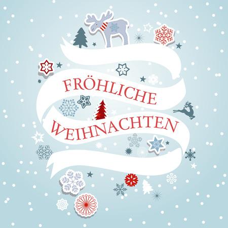 Banner di Natale con i fiocchi di neve, renne e alberi. invito Natale e saluti. Archivio Fotografico - 68500853
