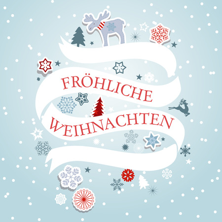 Christmas banner with snowflakes, reindeer and trees. Christmas invitation and greetings. Ilustração