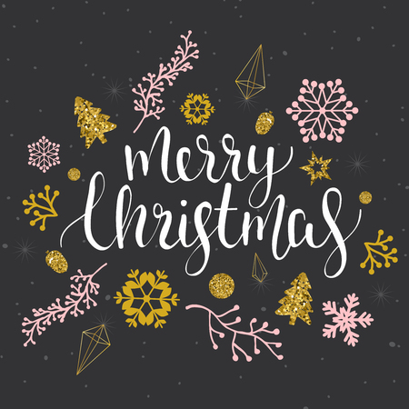 Merry Christmas greetings with calligraphic type. Hand drawn vector holiday illustration.