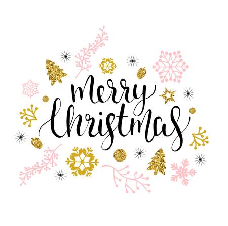 Auguri di buon Natale con il tipo calligrafico. Illustrazione di vacanza vettoriale disegnato a mano. Archivio Fotografico - 84872885