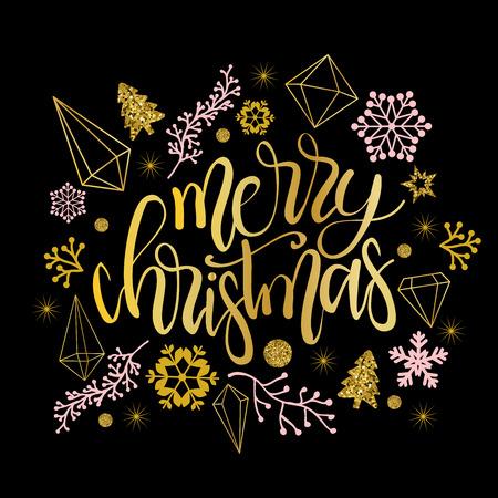 Merry Christmas greetings with calligraphic type. Ilustração