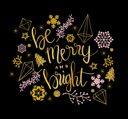 Merry Christmas greetings in calligraphic type illustration.