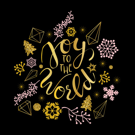Joy to the world greetings in calligraphic type illustration.