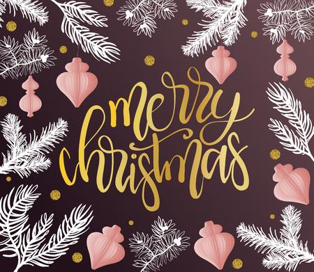 Auguri di buon Natale con il tipo calligrafico. Illustrazione di vacanza vettoriale disegnato a mano. Archivio Fotografico - 90309986