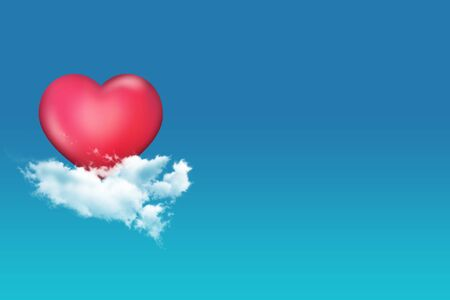 flit: 3d Red Heart Float on Cloud in the Sky Stock Photo