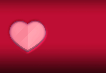 Red Background with Pink 3d gradients Heart Shape Illustration