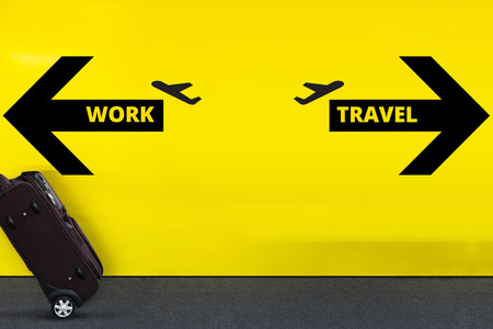 Airport Sign With Airplane Icon and Arrow on Yellow Wall with moving Luggage, Work and Travel Abroad Concept  Stock Photo