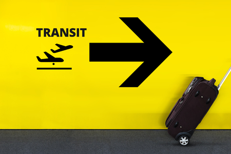 directory: Airport Sign With Airplane Transit Icon, Arrow and moving Luggage  Stock Photo