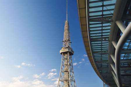 futuristic city: TV tower and part of Oasis21 building in Nagoya, Japan Stock Photo