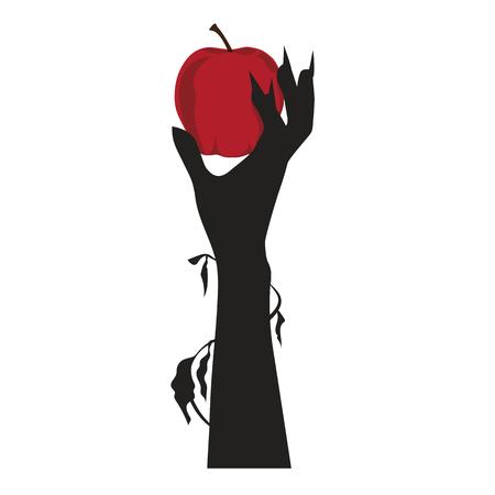 Creepy Hand Hold a Red Apple, Halloween Vector Illustration