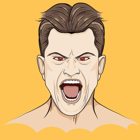 Angry Man Screaming ,Hand Drawn Vector Illustration Illustration