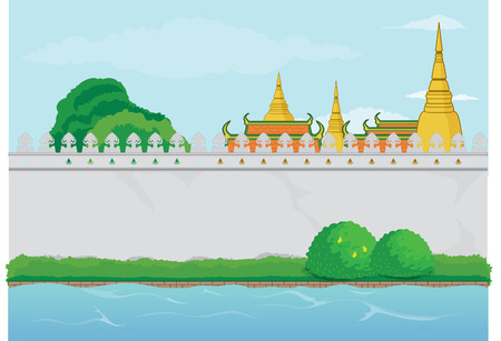 Vector Illustration of Buddhist Temple nearby a River with Blank Wall
