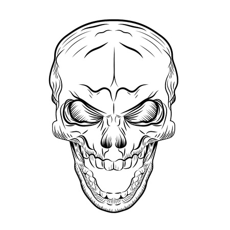Skull Screaming, Hand Draw Sketch Line