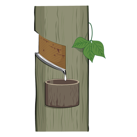 Natural latex dripping from a rubber tree (Hevea Brasiliensis) ,natural and tropical rubber process, Vector Illustration Vettoriali