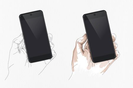 Mobile Phone Mockup image, present by Hand Drawn Human Hand with Flat Line and Colored style