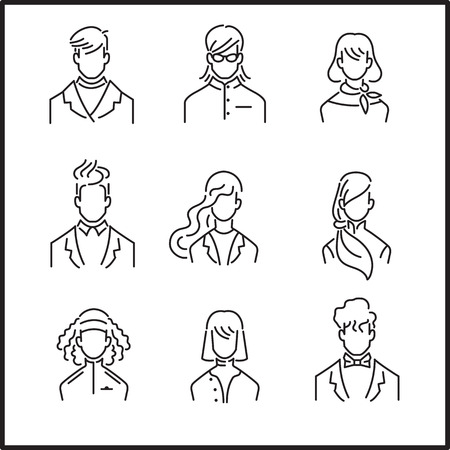 Avatar Set of Young Hipster People, Vector Illustration