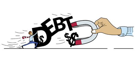 debtor: Struggle for Money of Debt Concept , Hand of Creditor using Magnet to Attracting Money from Debtor, Cartoon Drawing style Illustration