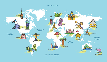 World Map with Icons of Landmark in Famous Contries, Vector Illustration