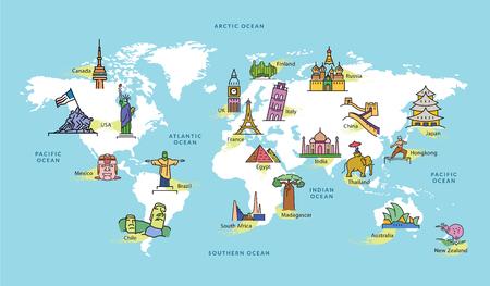 Wereldkaart met Pictogrammen van Oriëntatiepunt in Beroemde Contries, Vectorillustratie Vector Illustratie
