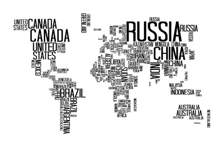 World Map with Countries name Text or Typography Illustration